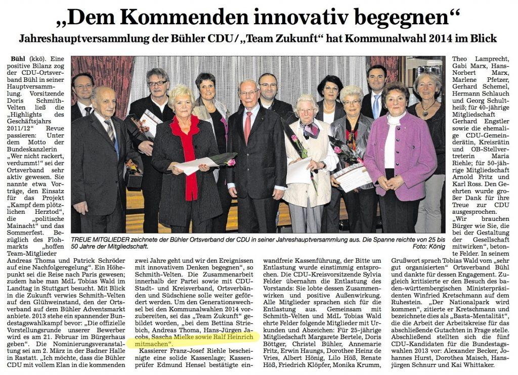 """Acher und Bühler Bote, 17.11.2012: """"Dem kommenden innovativ begegnen"""""""