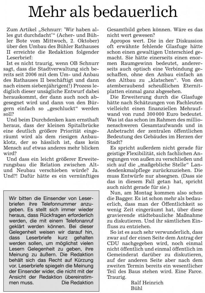 """Acher- und Bühler Bote, 05.10.2013: Leserbrief """"Mehr als bedauerlich"""""""