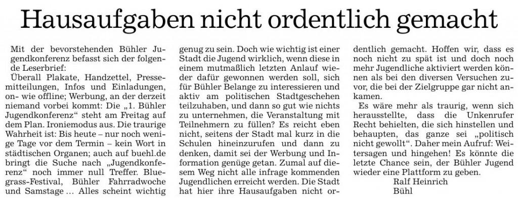 """Acher- und Bühler Bote, 06.05.2014: """"Hausaufgaben nicht ordentlich gemacht"""""""