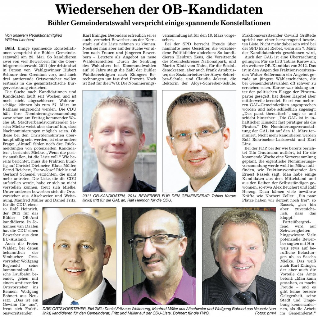 """Badische Neueste Nachrichten, 01.02.2013: """"Wiedersehen der OB-Kandidaten"""""""