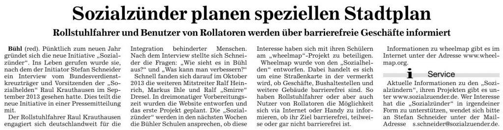 Badische Neueste Nachrichten, 02.01.2014: Sozialzünder planen speziellen Stadtplan