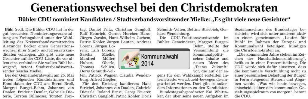 """Badische Neueste Nachrichten, 10.02.2014: """"Generationenwechsel bei den Christdemokraten"""""""