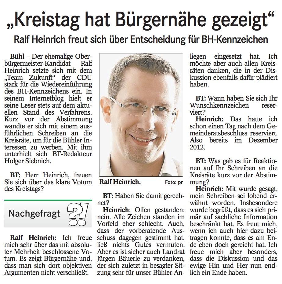 """Badisches Tagblatt, 02.11.2013: """"Kreistag-hat-Buergernahe-gezeigt"""""""