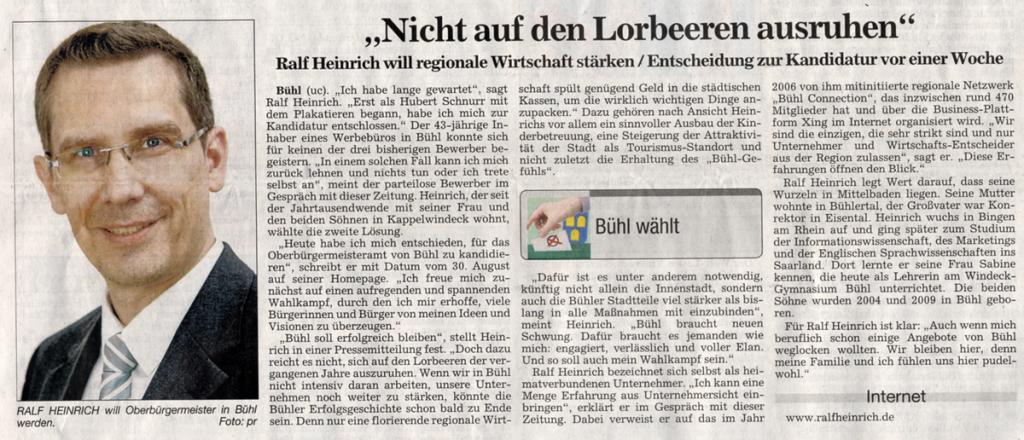 """ABB, 06.09.2011: """"Nicht auf den Lorbeeren ausruhen"""""""