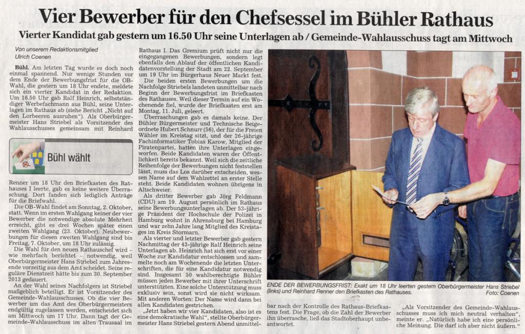 """ABB, 6.09.2011: """"Vier Bewerber für den Chefsessel im Bühler Rathaus"""""""