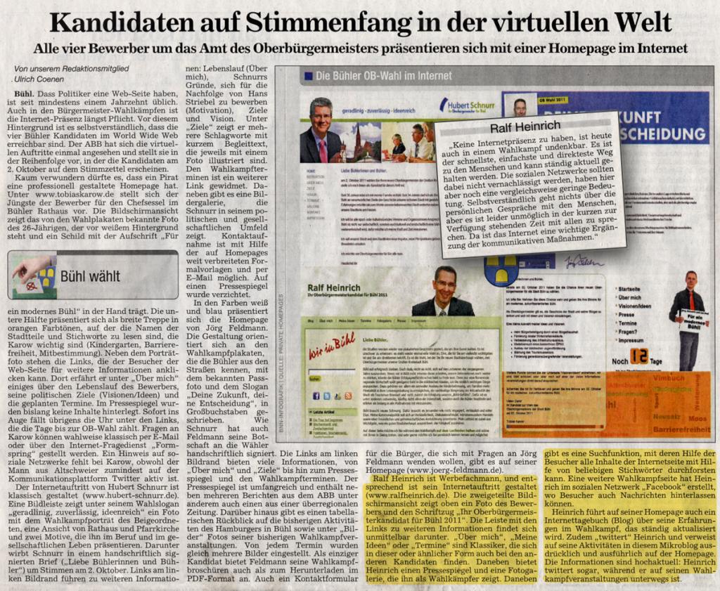 """ABB, 20.09.2011: """"Kandidaten auf Stimmenfang in der virtuellen Welt"""""""
