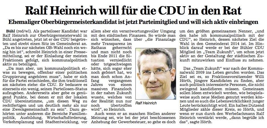 """ABB, 04.02.2012: """"Ralf Heinrich will für die CDU in den Rat"""""""