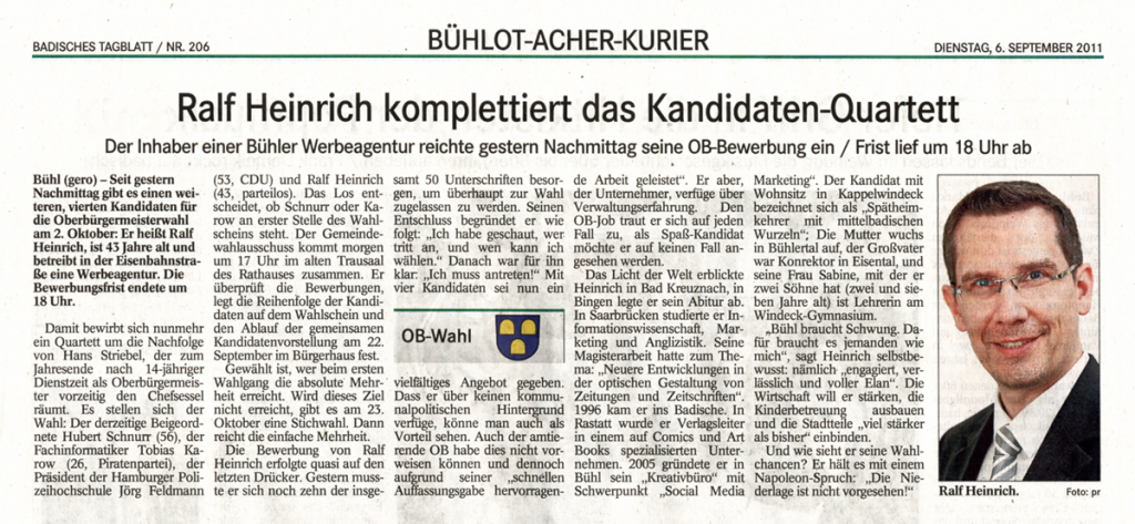 "BT, 6.09.2011: ""Ralf Heinrich komplettiert das Kandidaten-Quartett"""