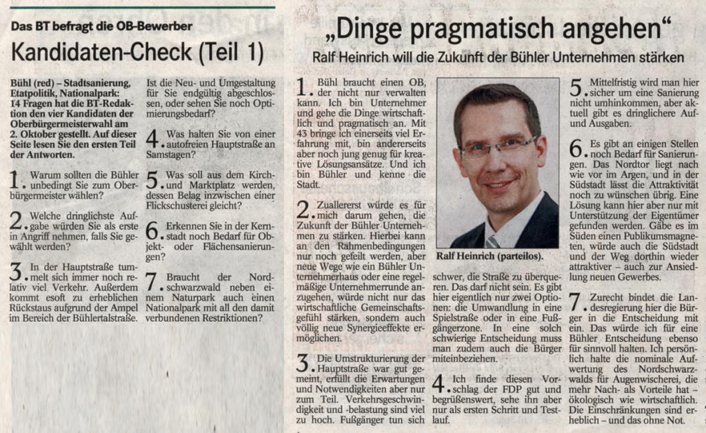 BT, 21.09.2011: Kandidaten-Check (Teil 1)