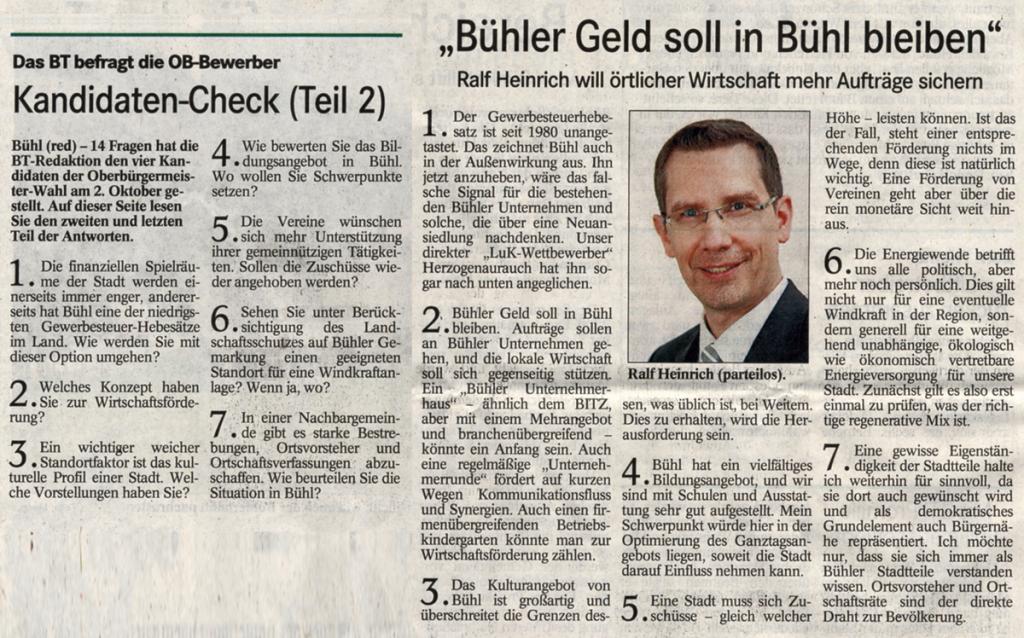BT, 21.09.2011: Kandidaten-Check (Teil 2)
