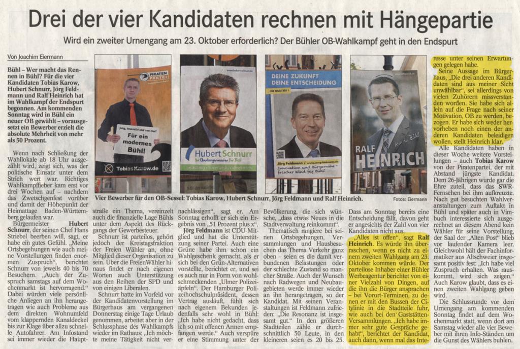 """BT, 28.09.2011: """"Drei der vier Kandidaten rechnen mit Hängepartie"""""""
