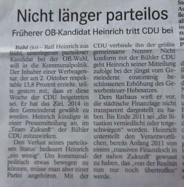"""BT, 04.02.2012: """"Nicht länger parteilos"""""""