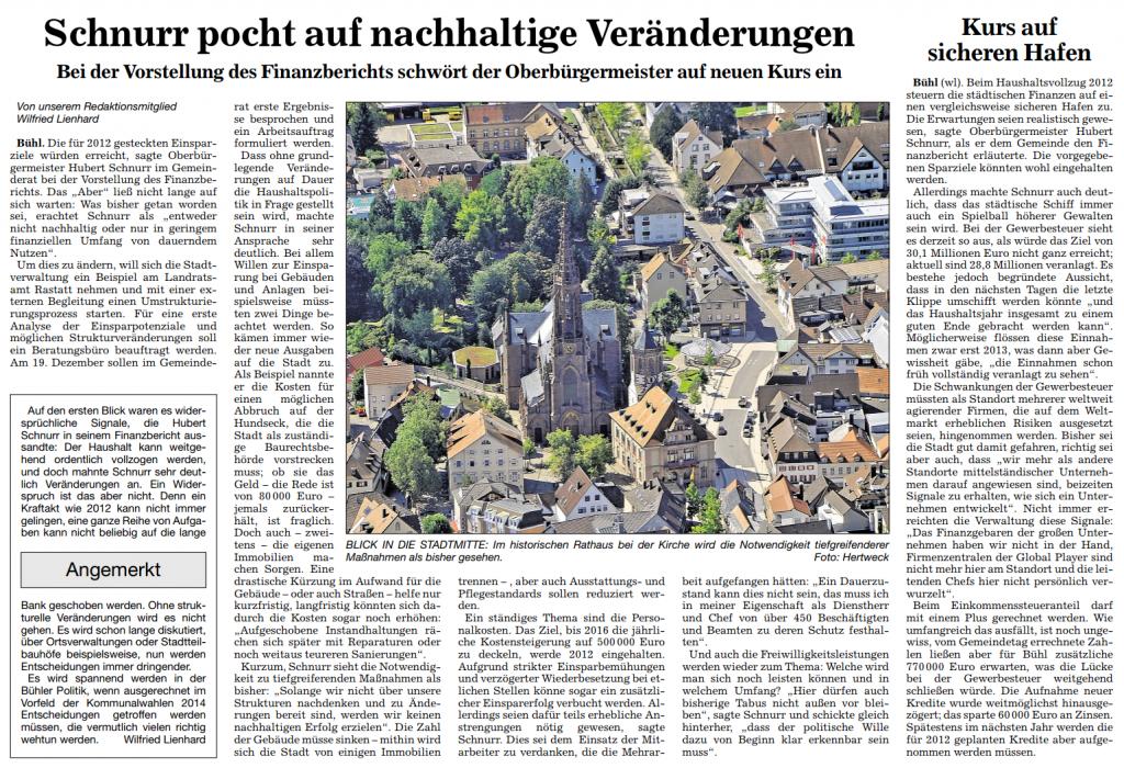 """ABB, 9.11.2012: """"Schnurr pocht auf nachhaltige Veränderungen"""""""