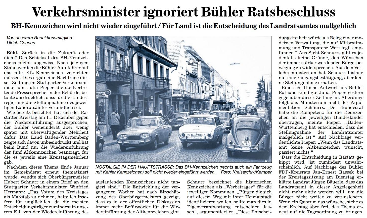 ABB, 21.02.2013: Verkehrsminister ignoriert Bühler Ratsbeschluss