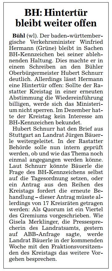 """Acher- und Bühler Bote, 14.06.2013: """"BH: Hintertür bleibt weiter offen"""""""