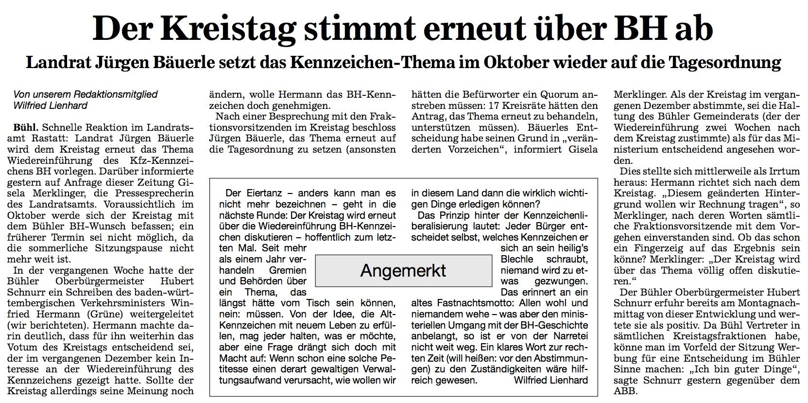 Acher- und Bühler Bote, 19.06.2013: Der Kreistag stimmt erneut über BH ab