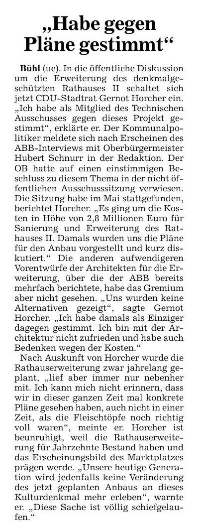 """Badische Neueste Nachrichten, 04.10.2013:<br/> """"Habe gegen Pläne gestimmt"""""""